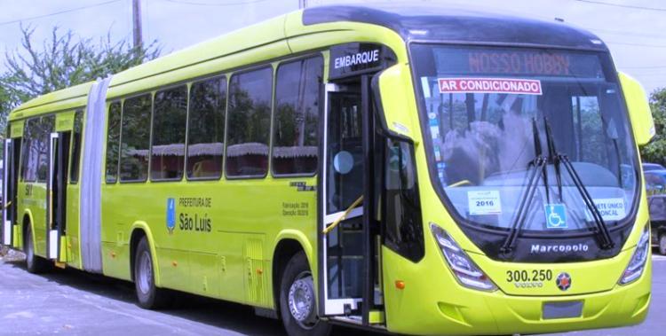 ônibus articulado do Consórcio Upaon-Açu, já em circulação na linha Uema Ipase
