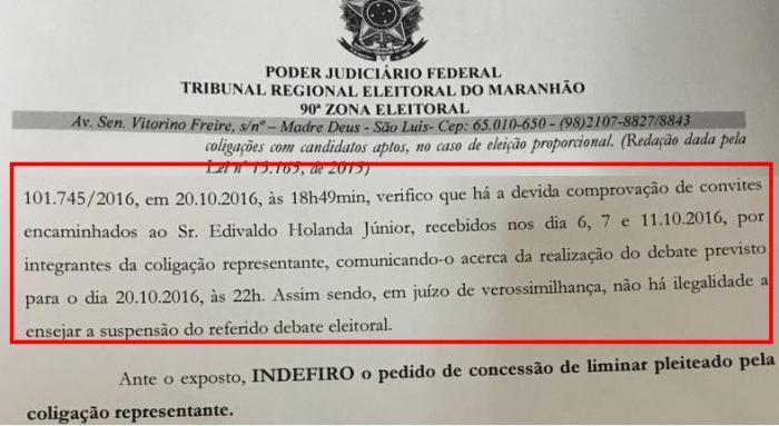 A decisão do juiz Adinaldo Cavalcante