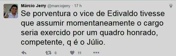o comentário de Márcio Jerry no Twitter: lenha na fogueira